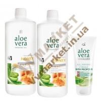 Aloe Verа гель питьевой Алоэ Вера (Алоє Вера) с добавкой Мед, набор 2 по 1л и Алоэ Вера Крем с прополисом, 100 мл, LR