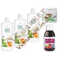 Aloe Verа гель питьевой Алоэ Вера (Алоє Вера) с добавкой Персик, набор  Мягкое очищение, LR