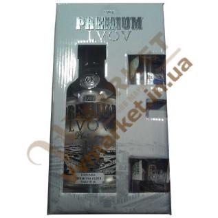 """Набор водка премиум """"Premium Lvov Platinum"""" 0,7л. и две рюмки с доставкой вся Украина"""
