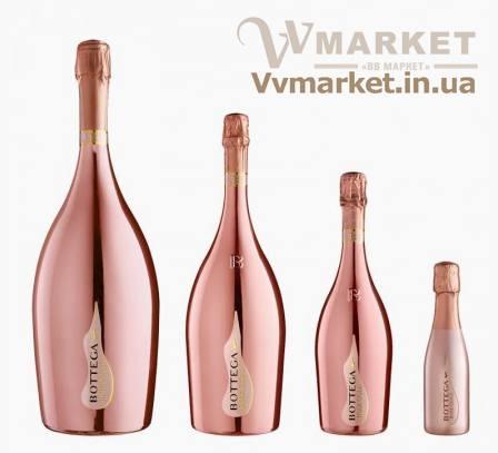 """Вино игристое Bottega """"Rose Gold"""" розовое брют, 0.75л DOC"""